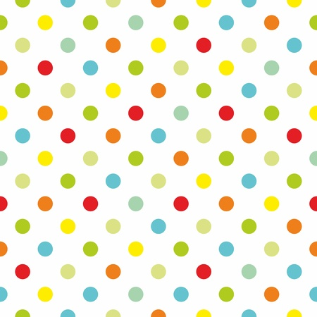 Seamless spring  pattern or texture with colorful polka dots on white background for kids background, blog, web design, scrapbooks, party or baby shower invitations and wedding cards.  Ilustracja