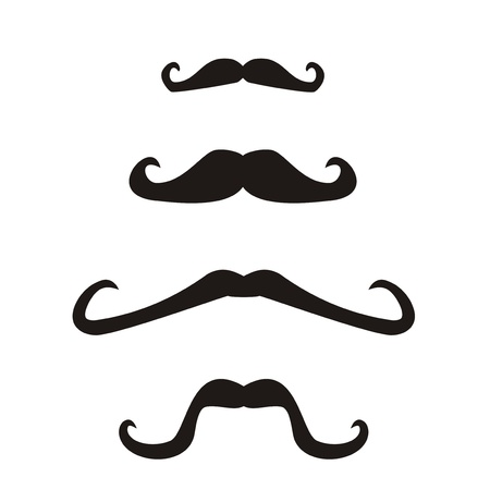 Set of  curly vintage retro gentleman mustaches