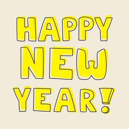 Happy New Year vector hand drawn wishes. Doodle sign or number symbol draft with yellow highlighter. Highlighting message with beige background color.  Vector