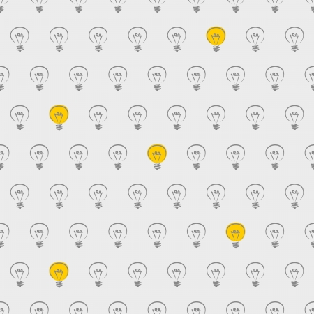 Seamless vector pattern, texture or background with light bulbs turn on and off on grey background. For web design, blogs, www, scrapbooks, invitations and cards. Sign of creative and invention  Vector