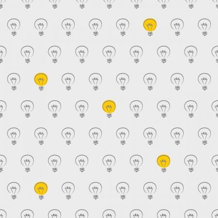 Wektor bez szwu, tekstury lub tła z żarówki włączać i wyłączać na szarym tle. Na projektowanie stron www, blogi, www, albumy, zaproszenia i karty. Znak kreatywny i wynalazku