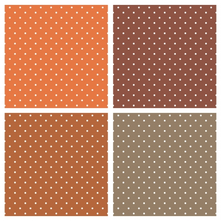 light brown: Vector set with seamless patterns or textures with white polka dots on dark and light brown background. For invitations, websites, wallpaper, desktop, cards, background, web design, art  Illustration