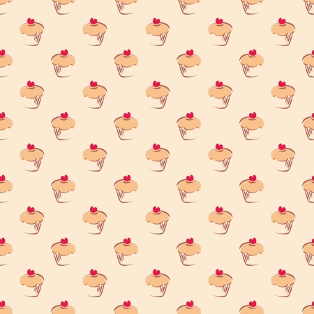 Seamless vector pattern or texture with little cupcakes, muffin, sweet cake and red heart on top. Background with sweets for card, invitation, valentines, wallpaper, desktop or culinary blog website.  Vector