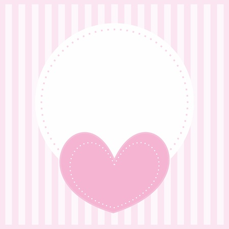 valentines or wedding card, baby shower invitation with pink heart, sweet background with strips Vector
