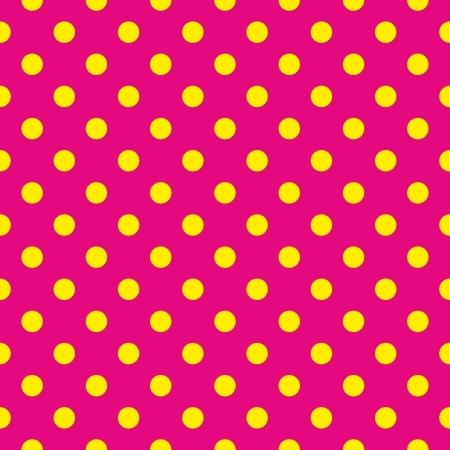Jednolite wzór lub tekstury z żółtymi kropkami na neonowym różowym tle Ilustracja