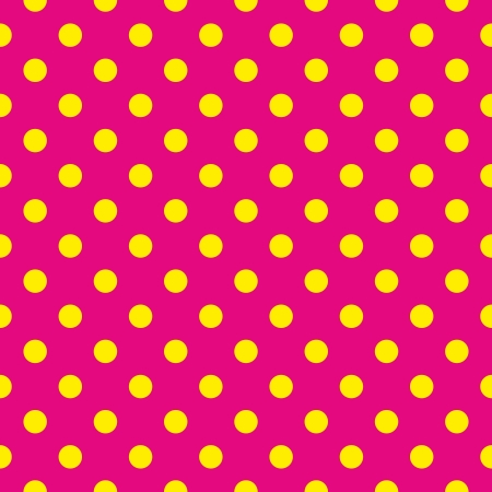 Seamless pattern or texture with yellow polka dots on neon pink background Vector