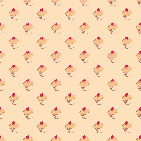 Seamless pattern, texture or background with sweet muffin cupcakes with red lovely heart on beige background Vector