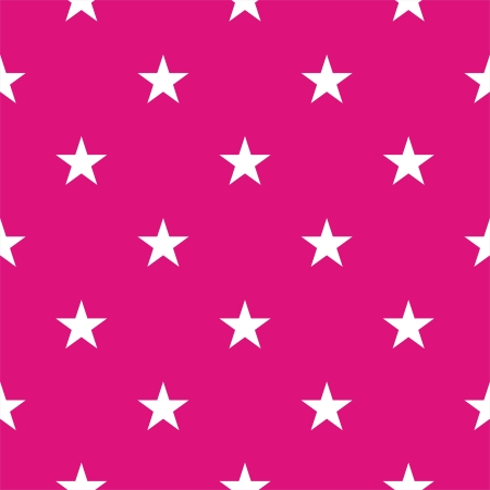 Vector seamless pattern or texture with white stars on a neon pink background.  Illustration