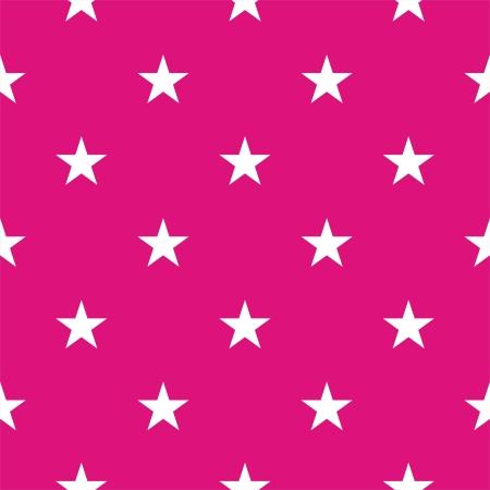Wektor bez szwu lub tekstury z białymi gwiazdami na tle różowy neon. Ilustracja