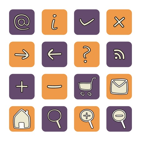 Vector web tools symbols on violet and orange. Isolated on white background Vector
