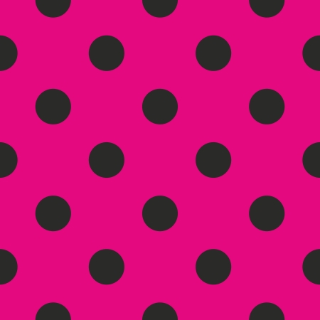Seamless vector pattern or texture with black polka dots on neon pink background. For cards, invitations, websites, desktop, baby shower card background, party, web design, arts and scrapbooks.  Vector