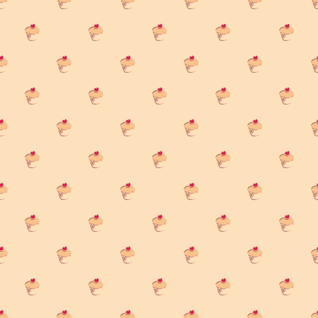 Seamless vector pattern, texture or background with little sweet muffin cupcakes with red lovely heart on beige background. For web design, culinary blog or dektop wallpaper  Vector