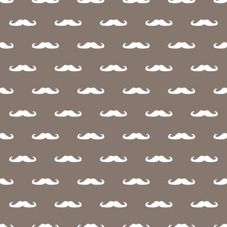 sideburns: Vintage seamless pattern, texture or background with beige curly mustache on retro dark brown background.  Illustration