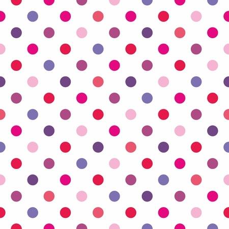 red polka dots: Seamless pattern textura o con lunares de colores rosa, rojo y violeta sobre fondo blanco. Vectores