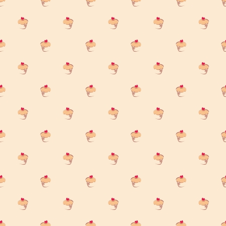 Seamless vector pattern, texture or background with small sweet muffin cupcakes. Red lovely heart on top. For desktop wallpapers, culinary blog, web design Vector