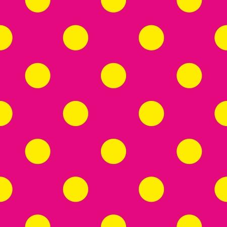 Seamless vector pattern o la texture con grandi polka puntini gialli su sfondo rosa neon. Per le schede, inviti, siti web, desktop, doccia scheda del bambino sfondo, party, web design, arte e album. Vettoriali