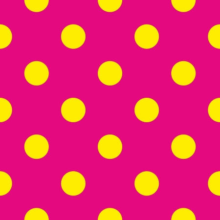 Seamless vector pattern or texture with big yellow polka dots on neon pink background. For cards, invitations, websites, desktop, baby shower card background, party, web design, arts and scrapbooks.