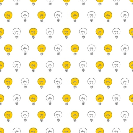 Seamless pattern, texture or background with yellow light bulbs on white background. For web design, blogs, www, scrapbooks, invitations and cards. Sign of creative and invention  Vector