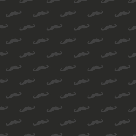 Seamless pattern, texture or background with dark mustache isolated on black background. Vintage design element for web, desktop wallpaper, blogs  Vector