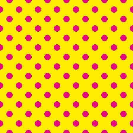 Naadloze patroon of textuur met roze stippen op neon gele achtergrond. Voor kaarten, uitnodigingen, websites, desktop, baby douche, kaart, achtergrond, feest, web design, kunst en plakboeken. Vector Illustratie