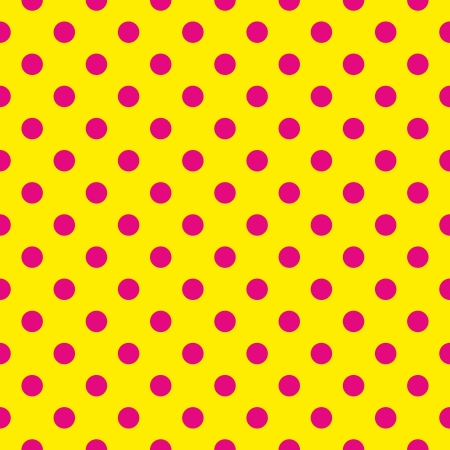 Seamless pattern or texture with pink polka dots on neon yellow background. For cards, invitations, websites, desktop, baby shower card background, party, web design, arts and scrapbooks.  Vector