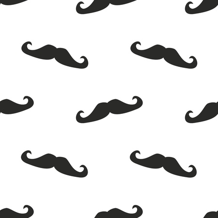 white moustache: Seamless vector pattern, background or texture with black curly hipster vintage natural gentleman mustaches on white background  For websites, desktop wallpaper, blog, hipsters, web design