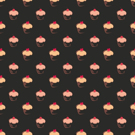 Seamless vector pattern, texture or background with sweet muffin cupcakes on black background  Red lovely heart on top  For web design, culinary blog or desktop wallpaper  Vector