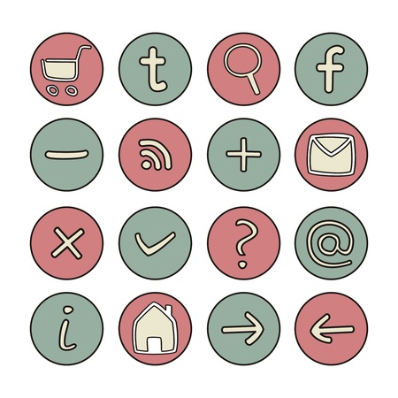 Doodle icons - arrow, home, rss, search, mail, ask, plus, minus, shop, back, forward  web tools symbols button set Stock Vector - 16932810