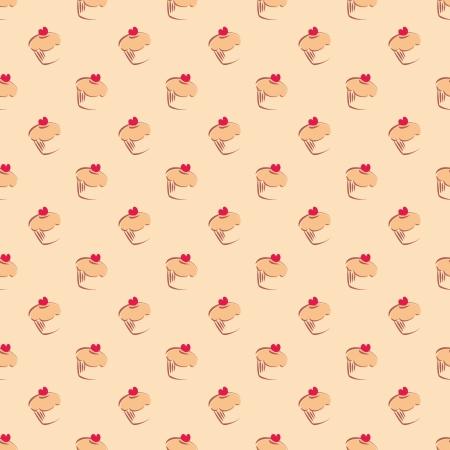 Seamless pattern o texture con cupcakes, muffin, torte dolci e cuore rosso su sfondo cima con dolci