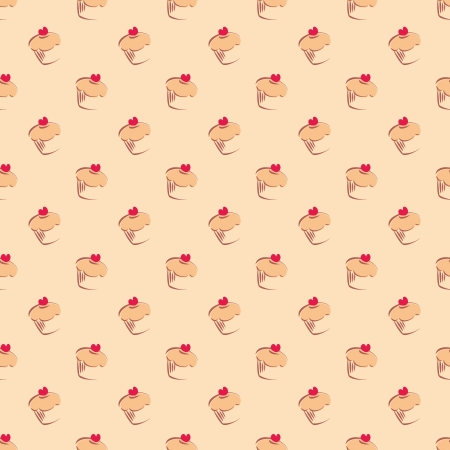 Seamless pattern or texture with cupcakes, muffins, sweet cakes and red heart on top  Background with sweets  Vector