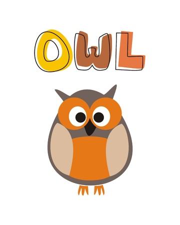 isolated owl: O es para buho - ilustraci�n vectorial con b�ho divertido mirando sentado en garabato dibujado a mano colorida linda palabra, s�mbolo de dibujos animados del proyecto de sabidur�a para aprender palabras y libros escolares Vectores