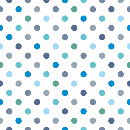 Seamless vector pattern, texture or background with cool mint, blue and bottle green polka dots on white background for web design, desktop wallpaper, winter blog, website or card