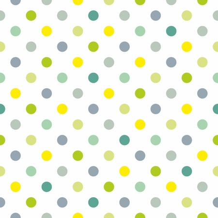 Seamless fresh spring pattern or texture with colorful polka dots on white background for kids background, blog, web design, scrapbooks, party or baby shower invitations and wedding cards.  Vector