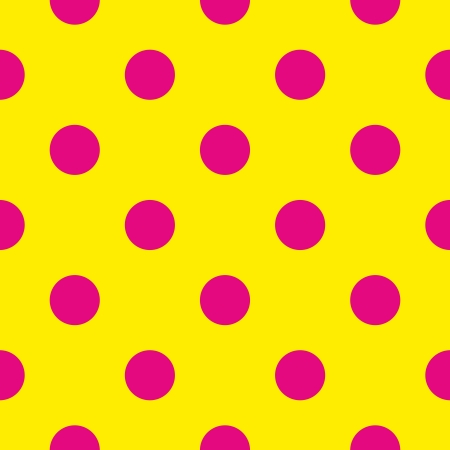 Seamless pattern or texture with neon pink polka dots on sunny yellow background. For cards, invitations, websites, desktop, baby shower card background, party, web design, arts and scrapbooks.  Vector