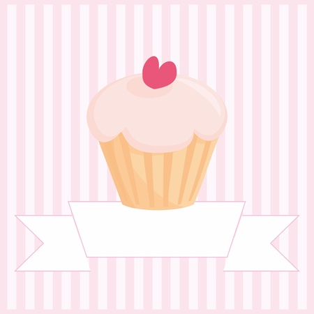 muffin: Sweet retro muffin cupcake on pink vintage stripes background with and white place for your own text mesage Illustration