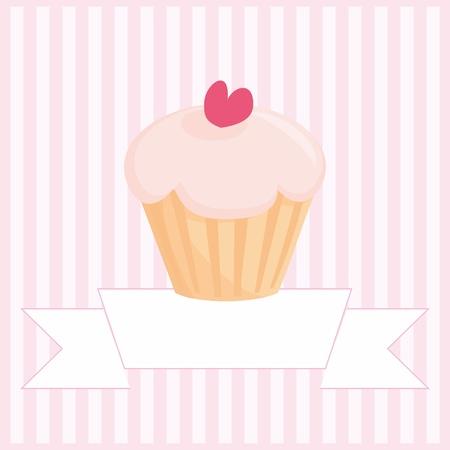 Zoete retro muffin cupcake op roze vintage strepen achtergrond met en witte plaats voor uw eigen tekst mesage Vector Illustratie