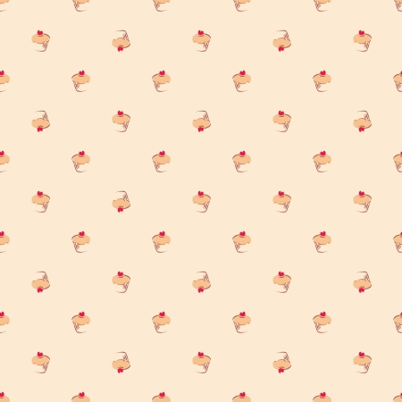 Seamless  pattern or texture with little cupcakes, muffins, sweet cake and red heart on top. Background with sweets for card, invitation, valentines, wallpaper, desktop or culinary blog website. Vector