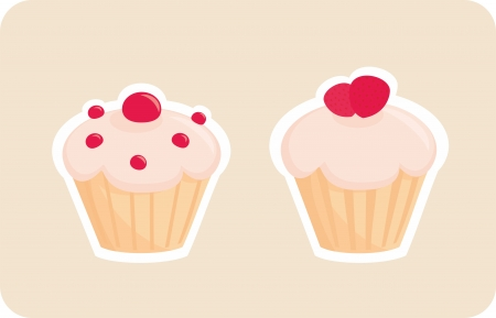 Sweet retro cupcakes silhouettes with red strawberry on top isolated on beige background. I love sweets! Wedding or birthday logo sweet muffins illustration.  Vector