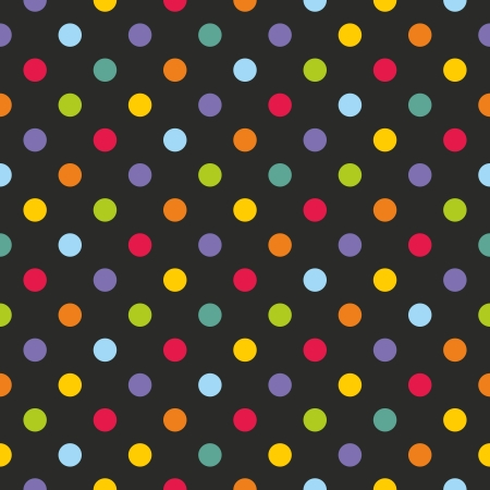 Vector seamless dark pattern with corolful polka dots on black background for website backgrounds, blogs, www, scrapbooks, party or baby shower invitations and elegant wedding cards.