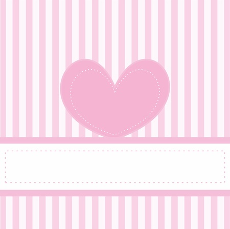 Pink valentines card or vector invitation full of love for baby shower, wedding or birthday party with white stripes on cute pink background, white space to put your own text message and pink cute heart. Vector