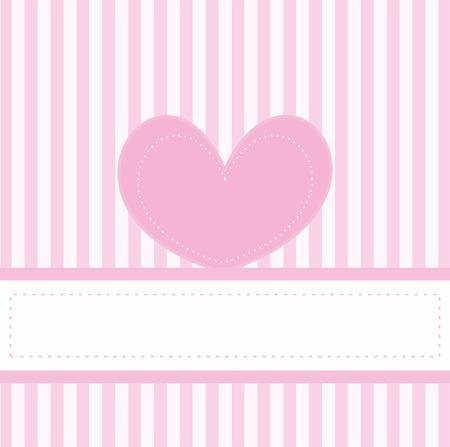 feminine background: Pink valentines tarjeta o invitaci�n vector lleno de amor para el beb� partido de la ducha, boda o cumplea�os con rayas blancas sobre fondo rosado lindo, espacio en blanco para poner su propio mensaje de texto y coraz�n rosado lindo.