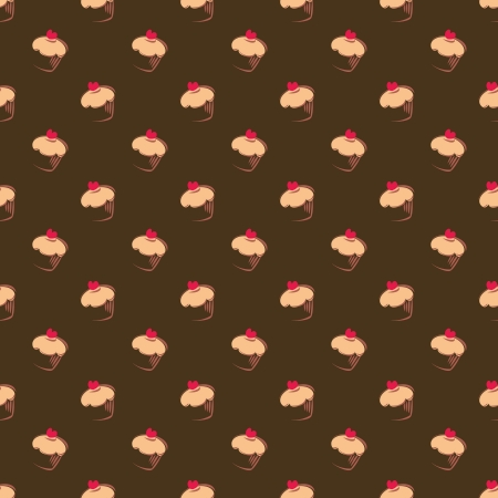 Seamless pattern, texture or background with big sweet muffin cupcakes on chocolate dark brown background. Red lovely heart on top. For web design, culinary blog or desktop wallpaper Stock Vector - 17239864