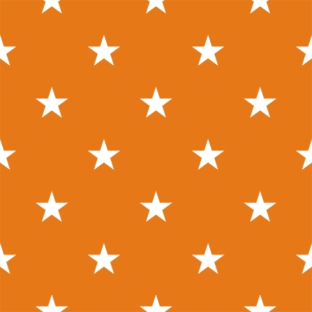 repetition row: Seamless pattern or texture with white stars on autumn orange background. For cards, invitations, wedding or baby shower albums, backgrounds, arts and scrapbooks. Illustration