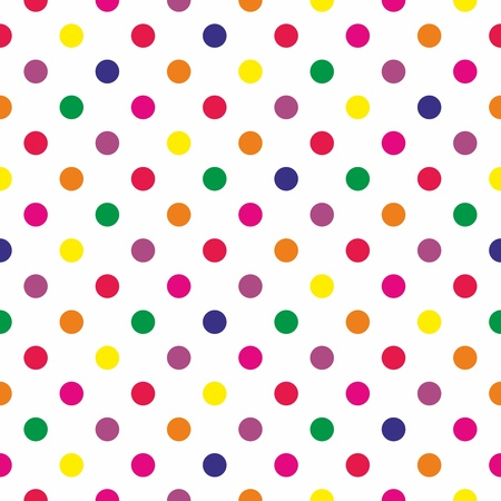 Seamless pattern or texture with colorful polka dots on white background Ilustracja
