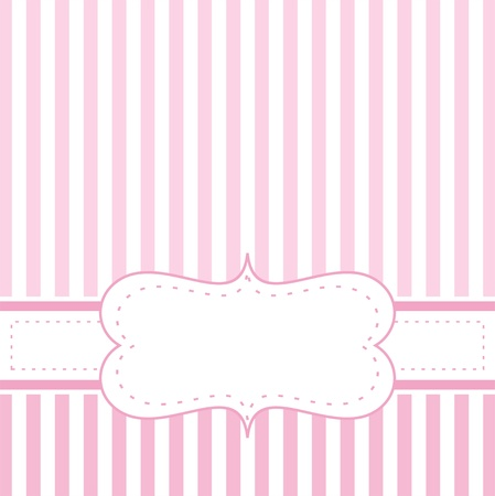 girly: Pink vector card invitation for baby shower, wedding or birthday party with white stripes  Cute background with white space to put your own text
