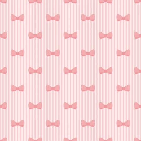 Naadloze roze strik en strepen achtergrond, schattige baby patroon of textuur