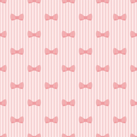Seamless pink bow and stripes background, cute baby pattern or texture Vector