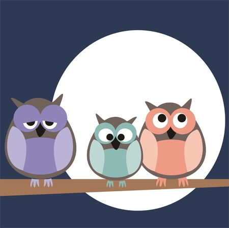 Funny, staring owls sitting on branch on a full mon night - illustration isolated on white background. Cute, cartoon symbol of wisdom. Vettoriali