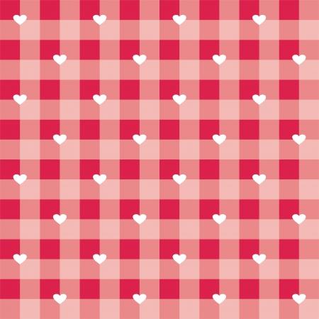 Seamless słodkie gorące czerwone tło walentynki - wektor szachownicy lub tekstury siatki z białym sercem pełnym miłości do projektowania stron internetowych, tapety na pulpit lub kulinarnych strona blog
