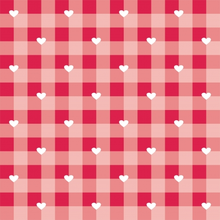 gingham: Seamless sweet hot red valentines background - vector checkered pattern or grid texture with white hearts full of love for web design, desktop wallpaper or culinary blog website Illustration